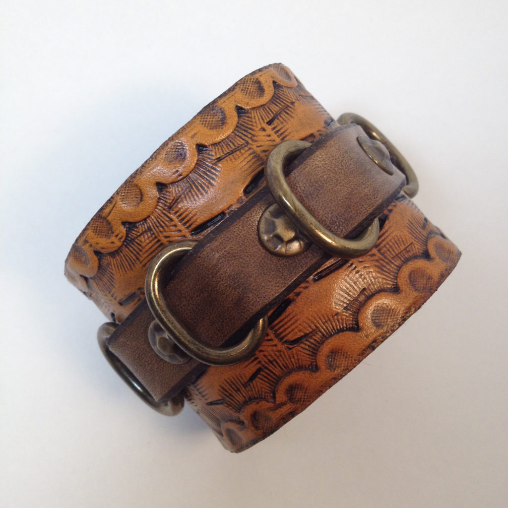 Basketweave Leather Bracelet with Brass Details